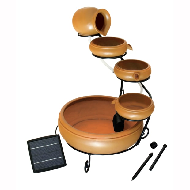 KoolScapes 5-Tier Terracotta Solar Cascading Fountain Kit #1