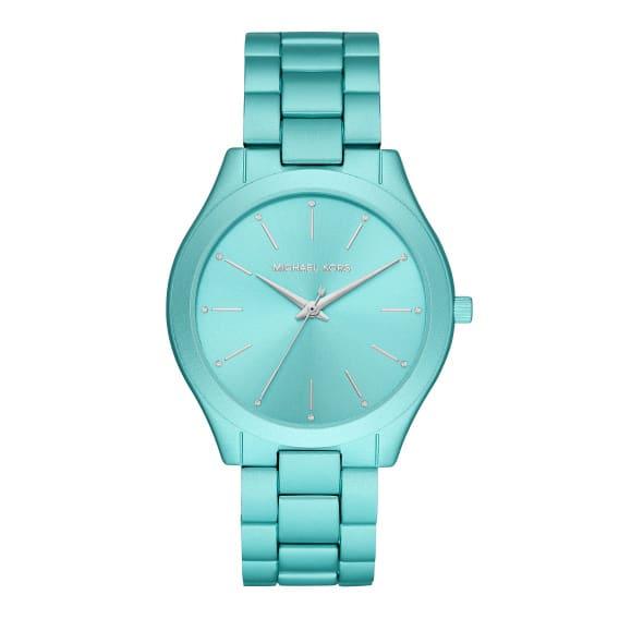 Michael Kors Oversized Slim Runway Aqua-Tone Aluminum Watch #1