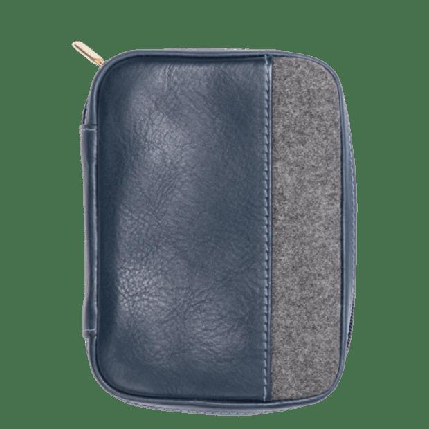 Monte & Coe Leather Passport Holder - Navy & Grey #1