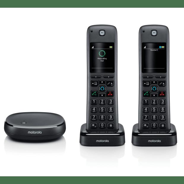 Motorola Smart Wireless Home Telephone System with Alexa Built-in and Speaker Phone - 2 Handset #1