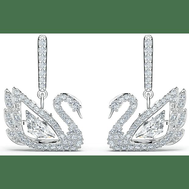 Swarovski Dancing Swan Pierced Earrings - White #1