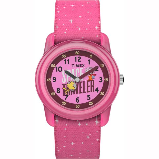 Timex X Space Snoopy Kids Analog 28mm Elastic Fabric Strap Watch - Purple