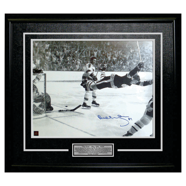Frameworth Bobby Orr Signed 16x20 Framed Bruins The Goal - Black/White