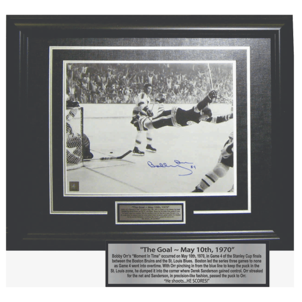 Frameworth Bobby Orr Signed 11x14 Framed Bruins The Goal - Black/White