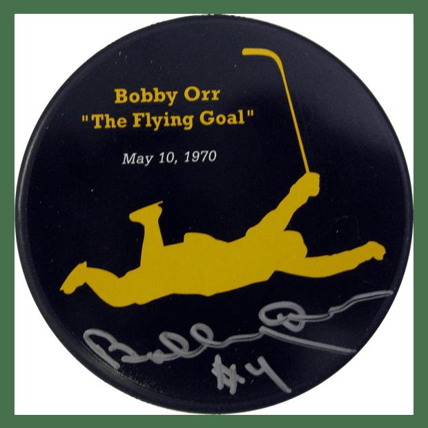 "Frameworth Bobby Orr Signed ""The Flying Goal"" Bruins Puck"
