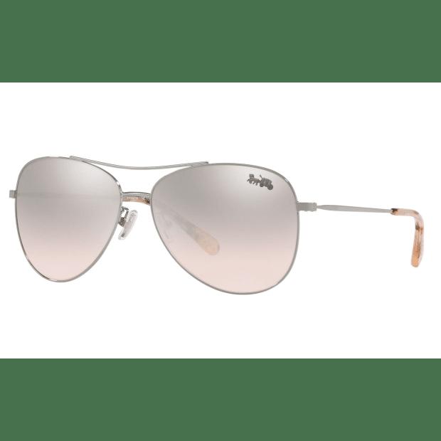 Coach L1013 Thin Metal Pilot Sunglasses - Shiny Gunmetal/Pink Silver Flash #1