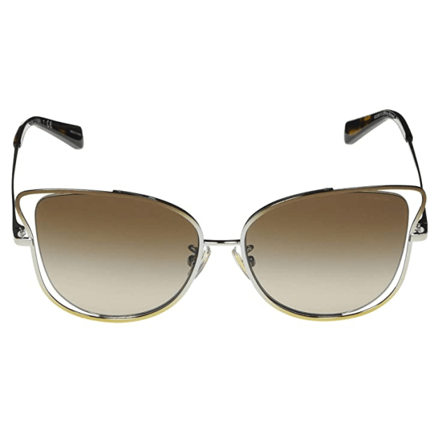 Coach L1108 Wire Frame Butterfly Sunglasses -Shiny Brown/Silver/Light Frames with Smoke Gradient Lens #1