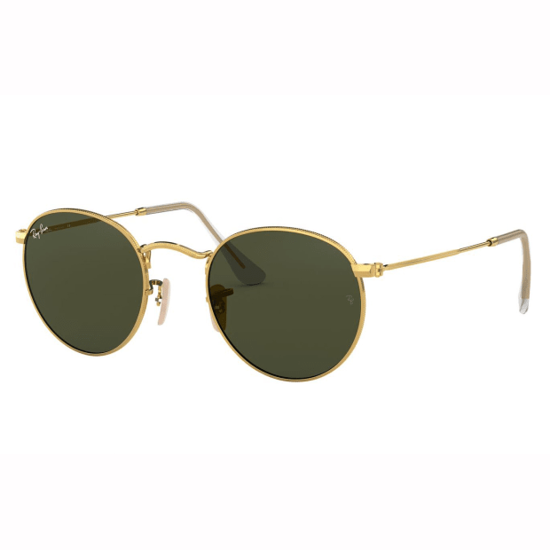Ray-Ban Round Flat Lenses Sunglasses - Gold/Green Classic G-15 #1