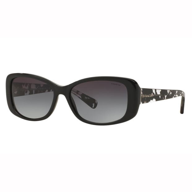 Coach L156 Rectangular Sunglasses - Black/Black Crystal Mosaic Frames with Light Grey Gradient Lens