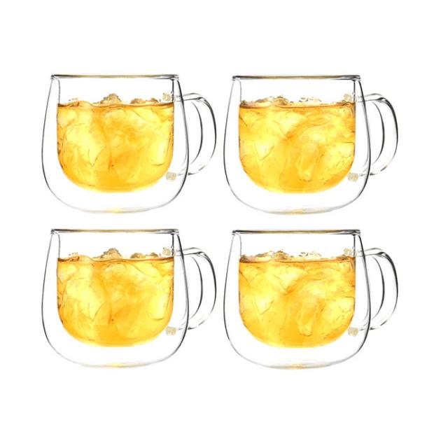 Grosche® Fresno Double Wall Glass Mug - Set of 4 #1