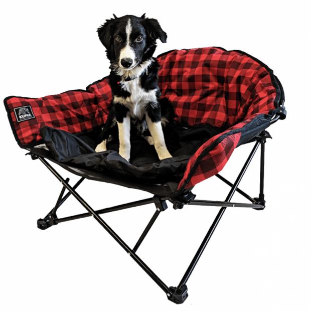 Kuma Lazy Bear Dog Bed - Red Plaid #1