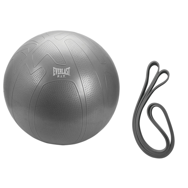 Everlast 75cm Pro Grip Burst Resistant Fitness Ball and Medium Resistance Power Band Bundle #1
