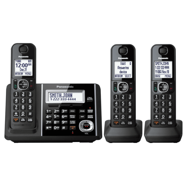 Panasonic Dect 6.0 Cordless Phones with 3-Handsets & Battery Backup Operation #1