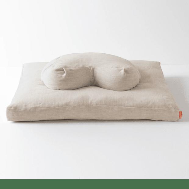 Halfmoon Yoga Halfmoon Meditation Cushion + Zabuton - Natural Linen #1