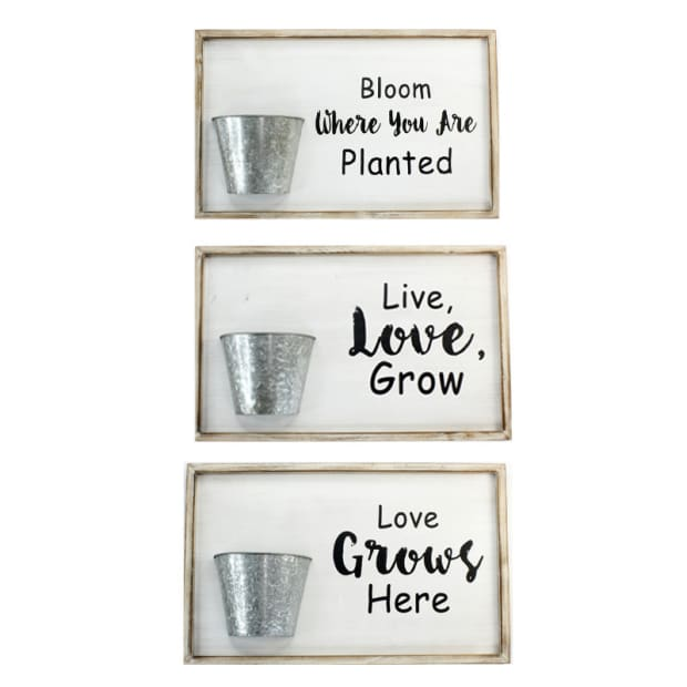 Koppers Home Assorted Wall Planter Signs - Set of 3