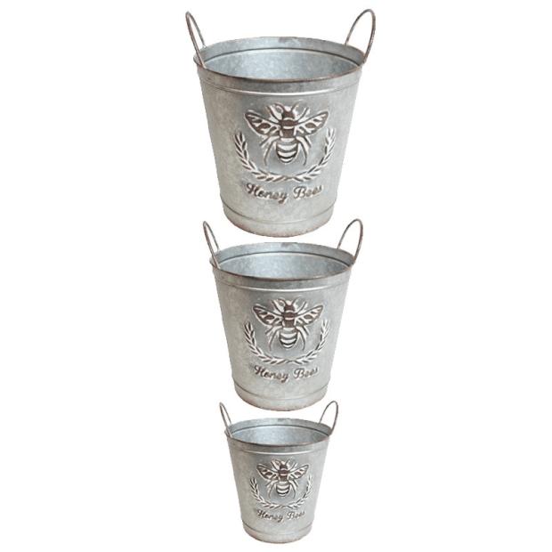 Koppers Home Rustic Galvanized Aluminum Bee Buckets - Set of 3