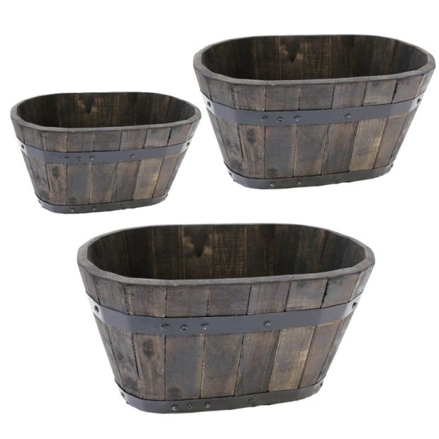 Koppers Home Oval Barrel Planters - Set of 3