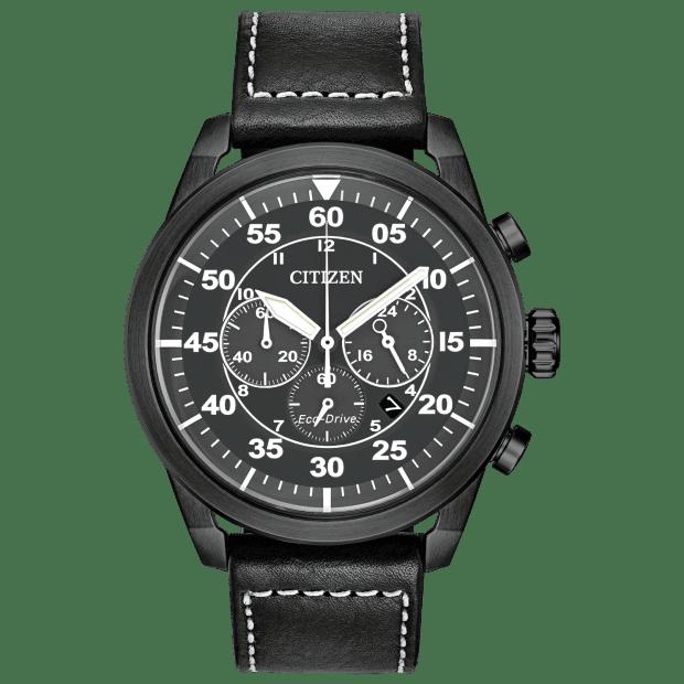 Citizen Men's Avion Eco-Drive Black Vintage Watch #1