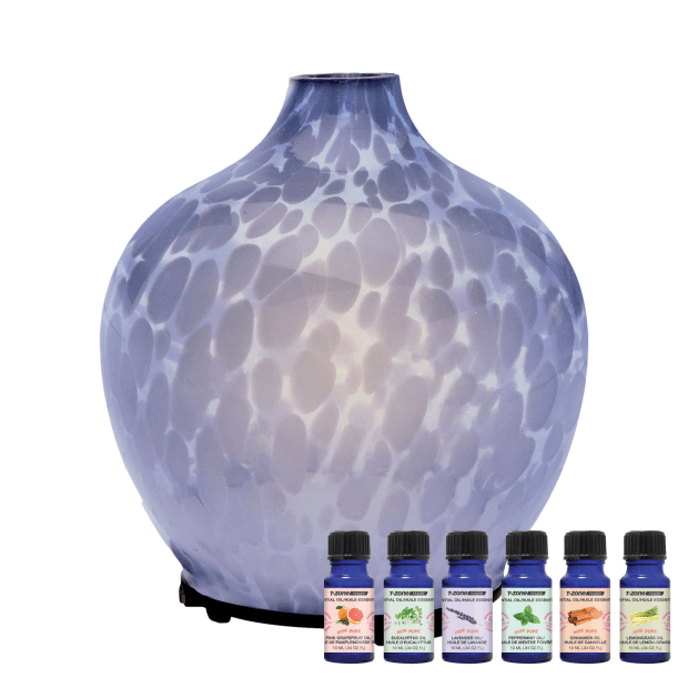T-Zone™ Health Glass Art Diffuser with 6 Essential Oils - Smokey Blue #1
