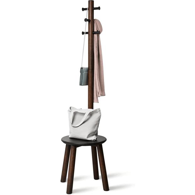 Umbra® Pillar Stool with Built-In Coat Rack - Black/Walnut #1