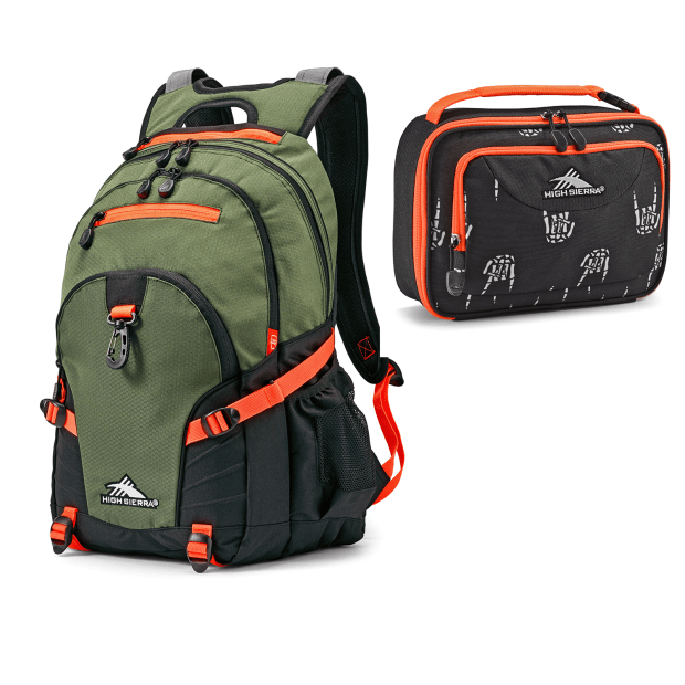 High Sierra Loop Forest Green/Electric Orange Backpack and Rock On Lunch Bag #1