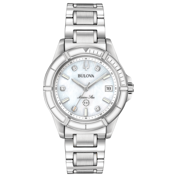 Bulova Marine Star Women's White Mother-of Pearl Dial Watch #1