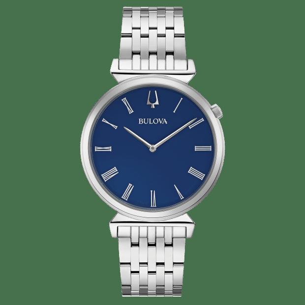 Bulova Regatta Mens Blue Dial Roman Numerals Heritage Watch #1