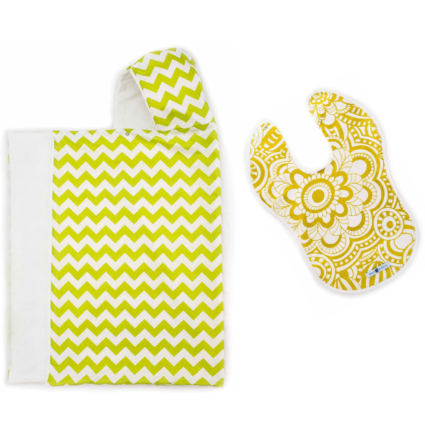 Bella Bundles Cheveron/Lime Snap Hooded Towel and Reversible Chartreuse Bib #1