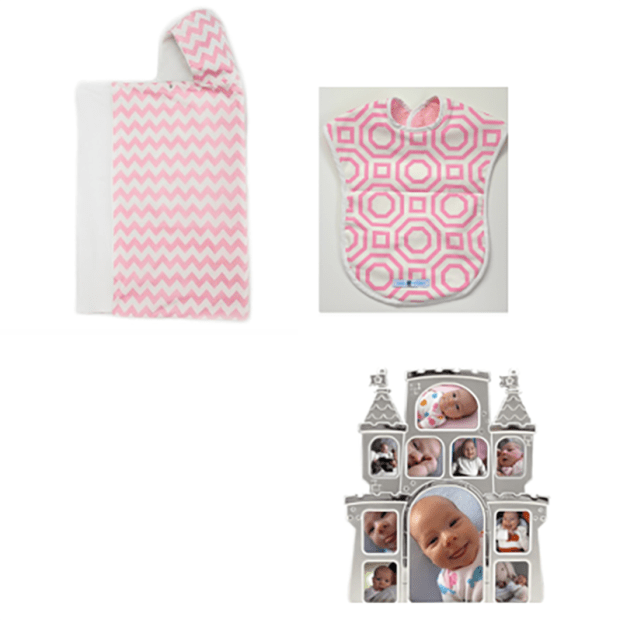 Bella Bundles Chevron/Pink Snap Hooded Towel, Reversible Bib and Castle Picture Frame