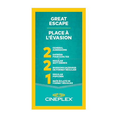 Cineplex Entertainment - Great Escape Certificate