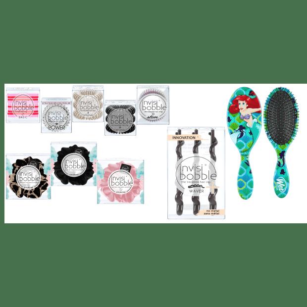 Invisibobble® 9-Piece Assorted  Set with Wet Brush Princess Ariel Detangler Brush #1