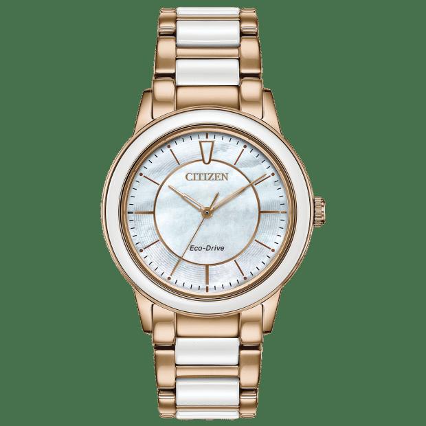 Citizen Chandler Ladies Eco-Drive White Dial Ceramic Watch #1