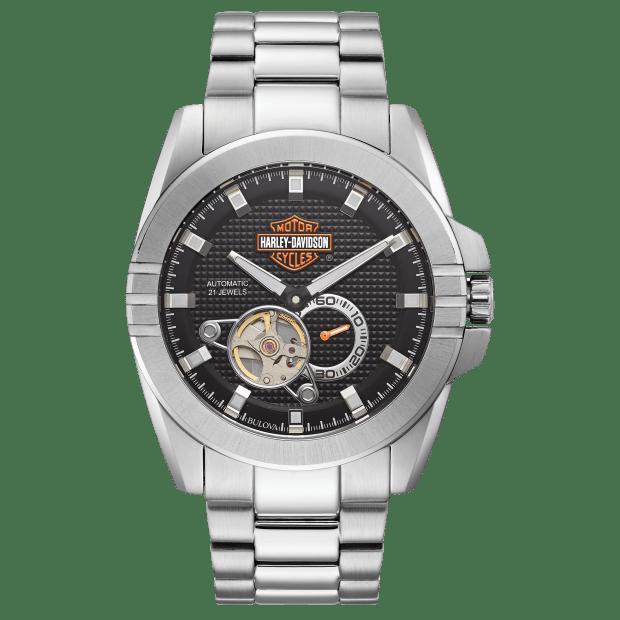 Bulova Harley Davidson Men's Automatic Throttle Stainless Steel Watch #1