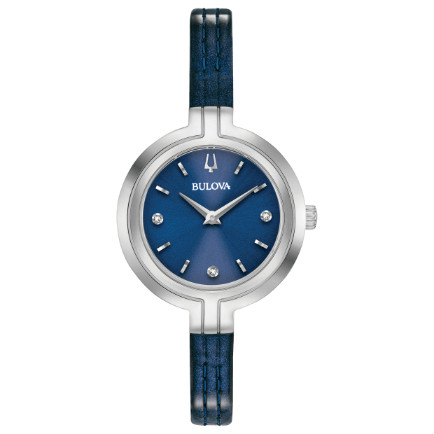 Bulova Rhapsody Ladies Blue Dial Diamond Leather Watch #1