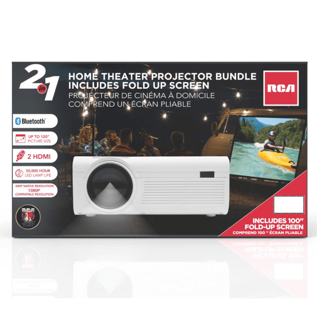 RCA Blueetooth Home Theater Projector Bundle with Fold Up Screen #1