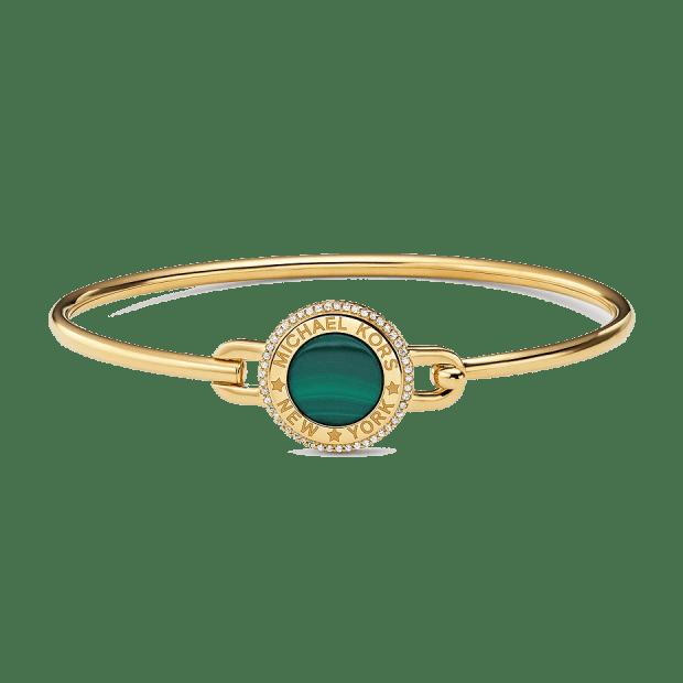 Michael Kors 14k Gold-Plated Sterling Silver Focal Stone Flexi Bracelet