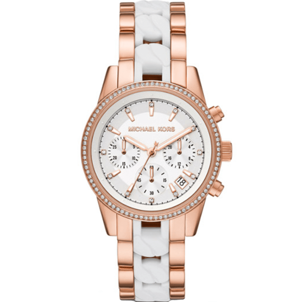 Michael Kors Ritz Rose Gold-Tone and Acetate Curb Link Watch #1