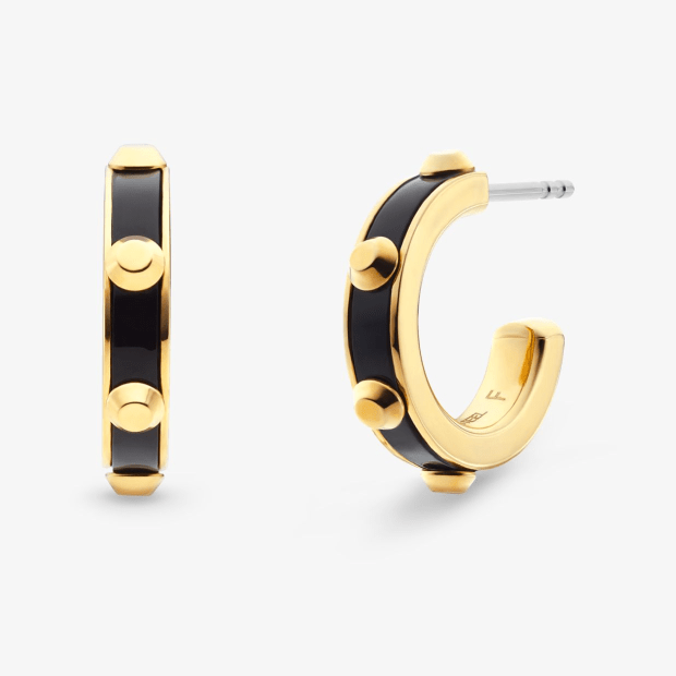 Michael Kors Studded Gold-Plated and Acetate Hoop Earrings #1