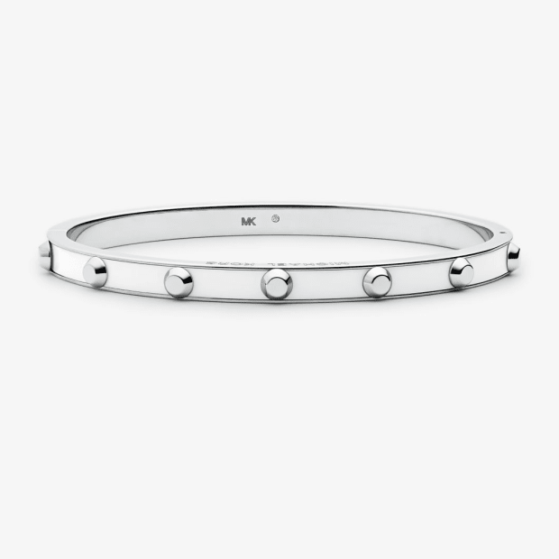 Michael Kors Studded Stainless Steel and Acetate Bangle