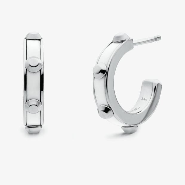 Michael Kors Studded Stainless Steel and Acetate Hoop Earrings #1
