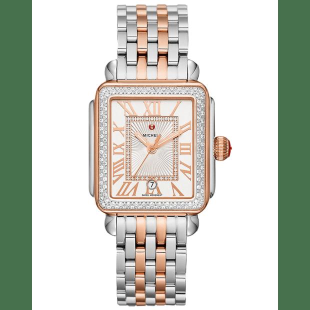 Michele Deco Madison Two-Tone 18K Pink Gold Diamond Watch #1