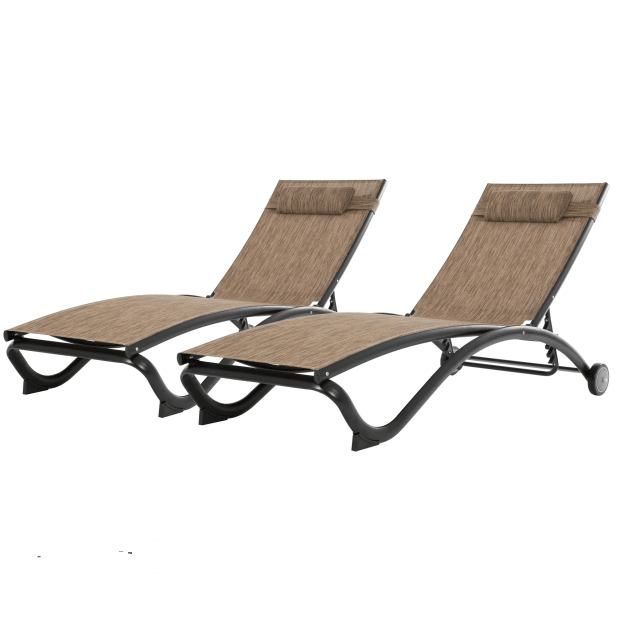 Vivere Glendale 5-Position Aluminum Pool Lounger with Wheel and Pillow - Granite - Set of 2 #1