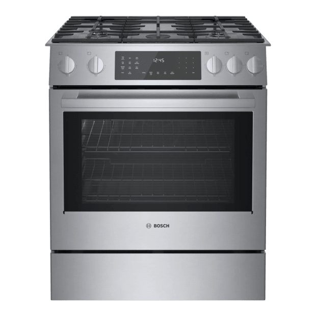 "Bosch 800 Series 32"" 4.8 Cu. Ft. 5-Burner Slide-In Dual Fuel Range - Stainless Steel #1"