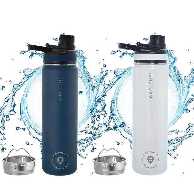 Grosche® 2-Pack Oasis Fruit Infusion Water Flasks - Mountain Blue & Pearl #1