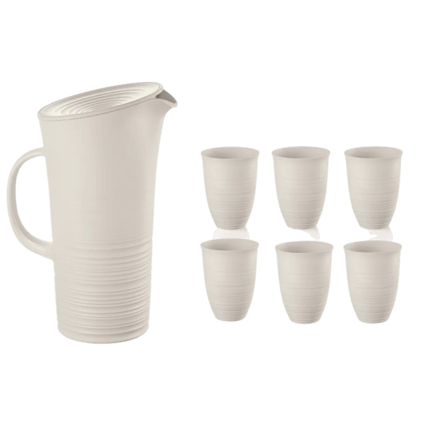 Guzzini Tierra Pitcher with Lid (Milk White) + 6 Tierra Tall Tumblers Set