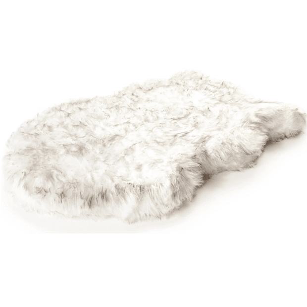 Paw Canada PupRug™ Faux Fur Orthopedic Dog Bed - Curve White - Small/Medium #1