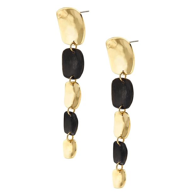 Soko Organic Mixed Material Square Dangle Earrings - Gold Plated/Black