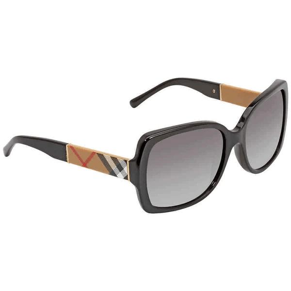 Burberry Blaze & Orchid Square Ladies Sunglasses - Black/Gradient Grey #1