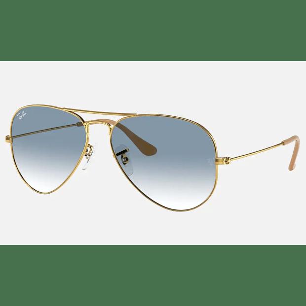 Ray-Ban Aviator Gradient Non-Polarized Sunglasses - Gold/Light Blue Gradient #1