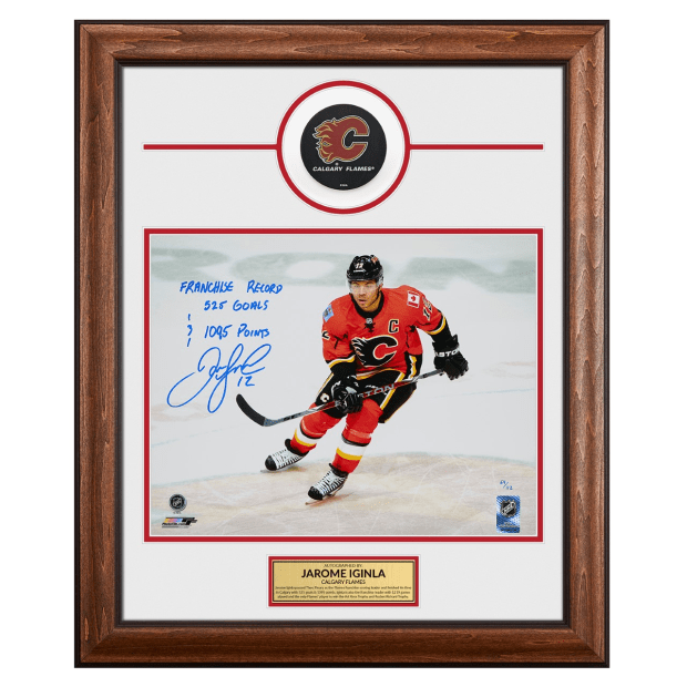 AJ Sports Jarome Iginla Calgary Flames Signed & Inscribed Franchise Record 20 x 24 Puck Frame